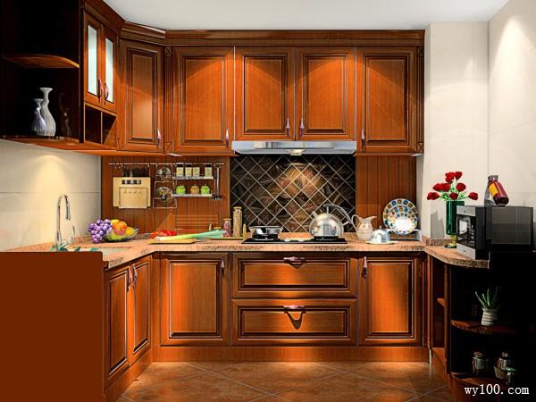 美式实木厨房 融合内敛之美_维意定制家具商城