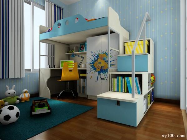 实用儿童房效果图 上铺下桌_维意定制家具商城
