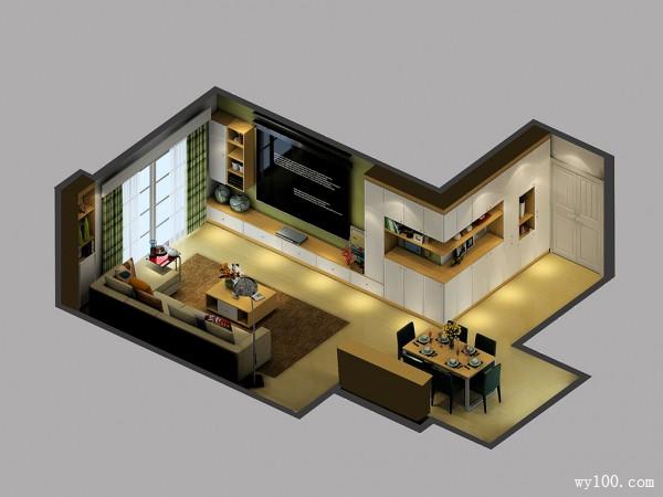 现代简约客餐厅 柜体拼接储物功能强_维意定制家具商城