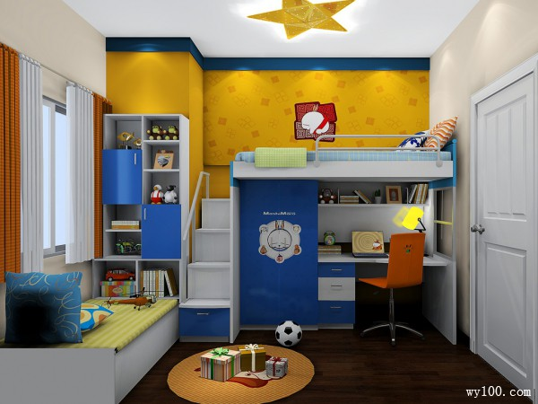 榻榻米儿童房效果图 6�O简单实用_维意定制家具商城