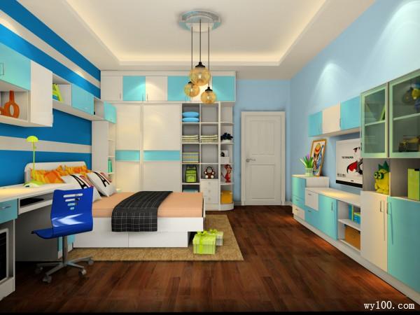 衣柜儿童房效果图 搭配多功能转角衣柜_维意定制家具商城