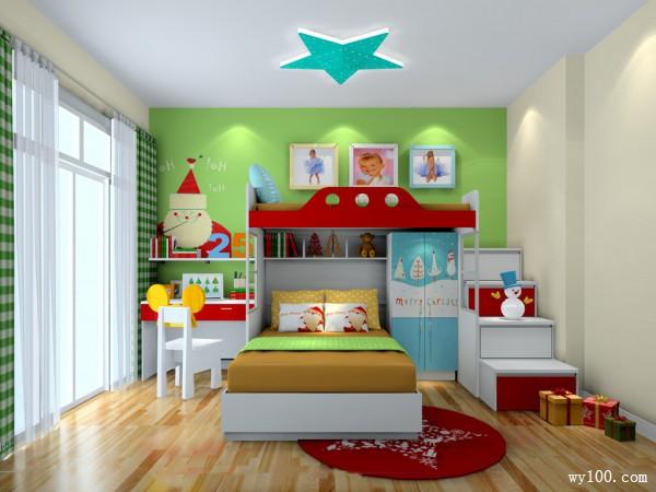 上下床儿童房 飘雪圣诞主题_维意定制家具商城
