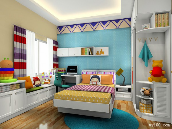 可爱儿童房效果图 8平简约风格_维意定制家具商城
