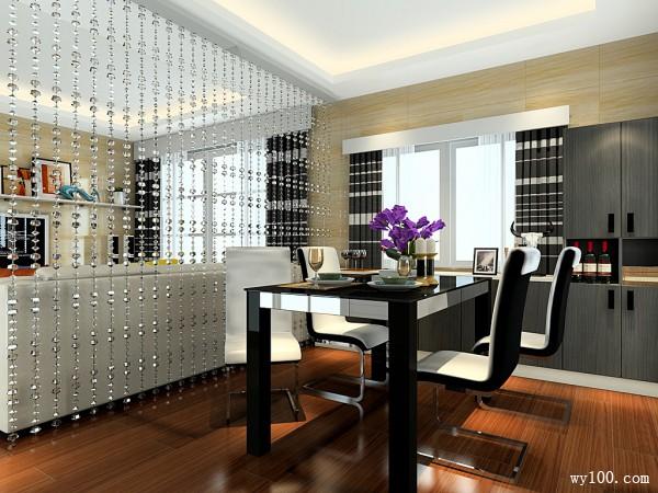 现代客餐厅效果图 52�O明快黑白搭配_维意定制家具商城