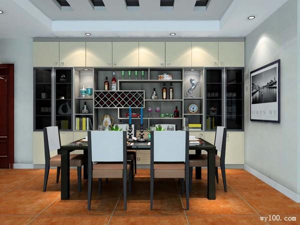 现代客餐厅效果图 带储酒功能_维意定制家具商城