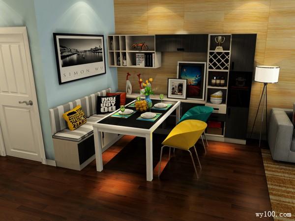 开放式客餐厅效果图 27�O帮你实现简约家居_维意定制家具商城