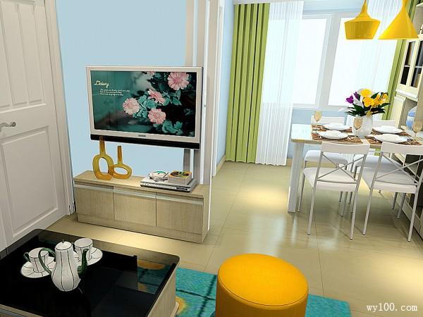 清新客餐厅效果图 26平舒适实用_维意定制家具商城