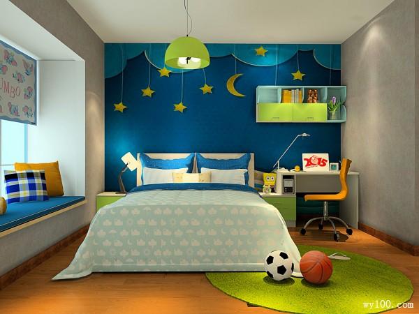 飘窗儿童房效果图 蓝色星空组合_维意定制家具商城