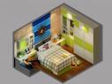 地中海式儿童房效果图 绿意青葱书柜组合_维意定制家具商城