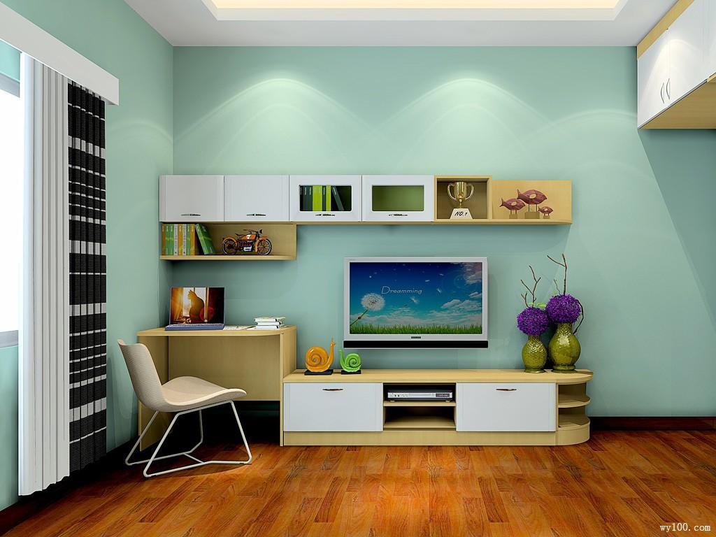 书桌搭配装饰柜的形式作为电视柜组合图片