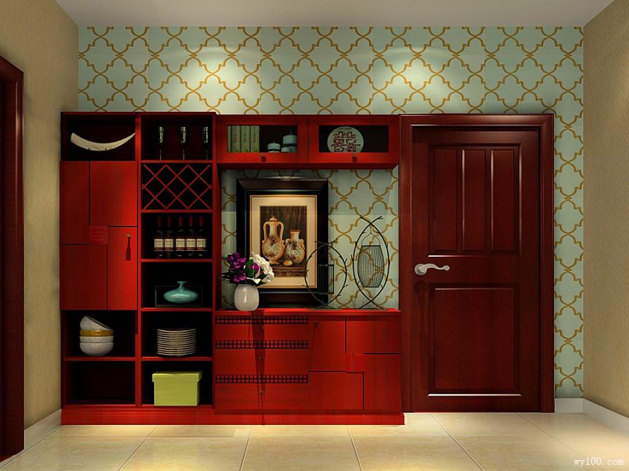 30平方中式古典风格客餐厅家具装修效果图套餐_维意