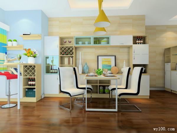 客餐厅装修效果图 80�O清新而不失时尚_维意定制家具商城