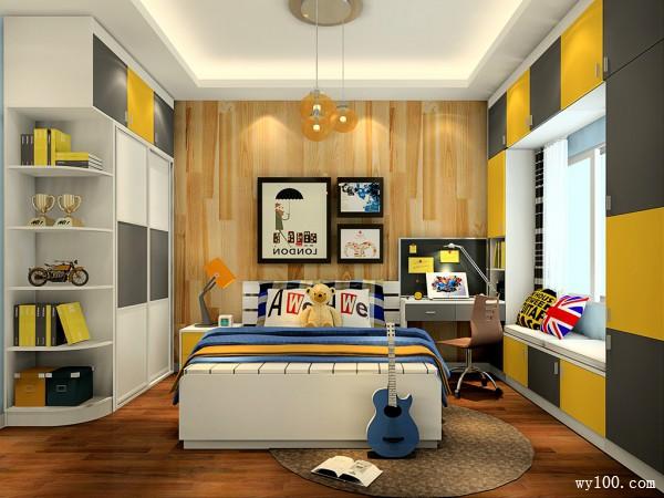 现代简约儿童房 柜体结合使空间清新自然_维意定制家具商城