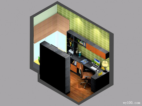 4平绿色黑杰克风格书房_维意定制家具商城