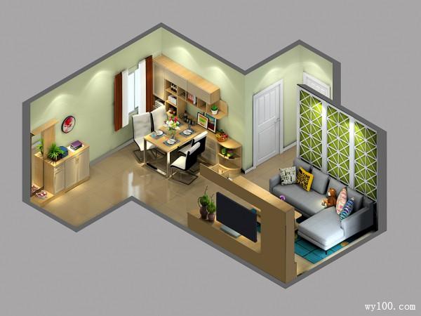 自然风客餐厅效果图 26平丹麦本色温馨之家_维意定制家具商城