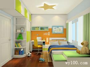 明亮儿童房效果图 8�O绿白搭配尽显青春活力_维意定制家具商城