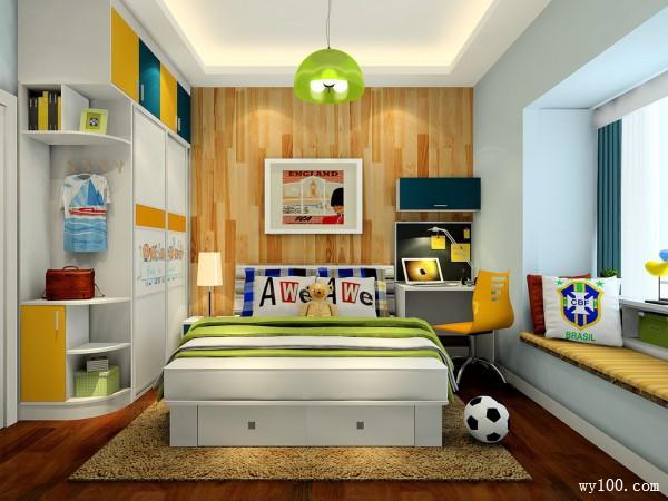 酷炫儿童房效果图  10�O让孩子学习休息两不误_维意定制家具商城