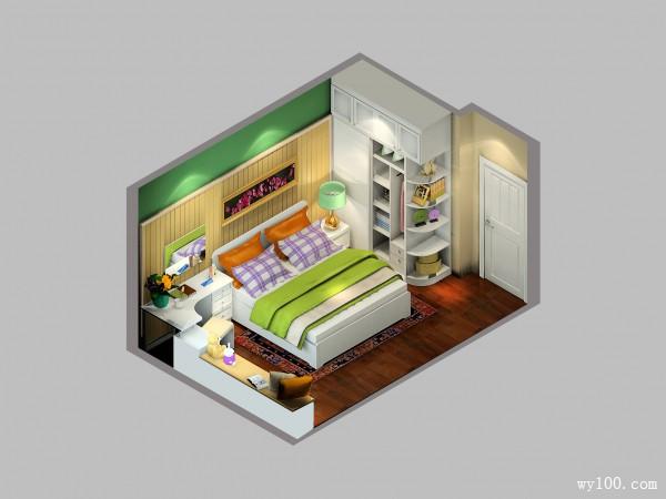 绿色卧室效果图 13�O夏日给小世界换清新装必看_维意定制家具商城