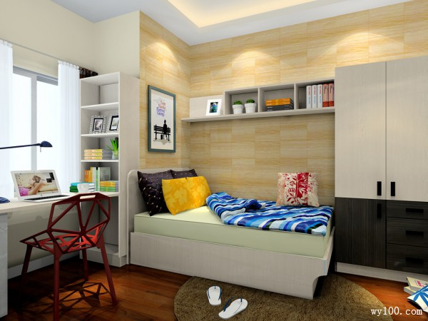 简约卧室效果图 单身又如何独享10�O尊贵_维意定制家具商城