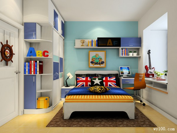 可爱儿童房效果图 8�O巧妙打造学习空间_维意定制家具商城