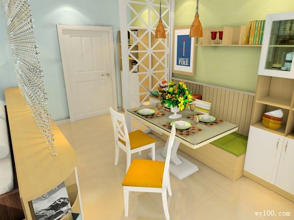 清新客餐厅效果图 27�O适合一家三口的客餐厅_维意定制家具商城