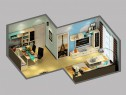 简洁客餐厅效果图  21�O空间装出时尚空间_维意定制家具商城