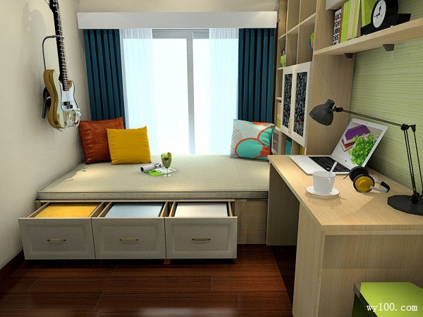 书房装修效果图 7�O也能充当客卧使用_维意定制家具商城
