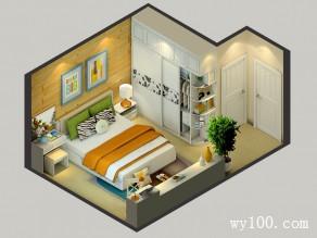 卧室装修效果图 18�O色彩清新储物性强_维意定制家具商城