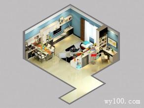 大方简洁的造型设计客餐厅效果图_维意定制家具商城