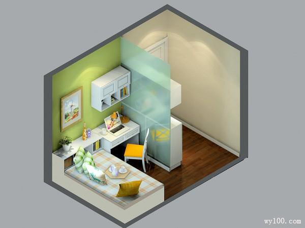 小户型书房效果图 7�O装饰出满春天味道_维意定制家具商城