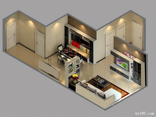 简约华丽客餐厅 40�O简简单单的美_维意定制家具商城
