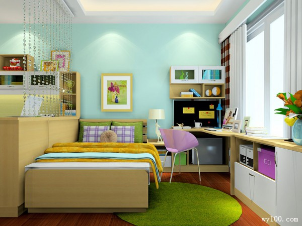 简约定制床书房装修效果图