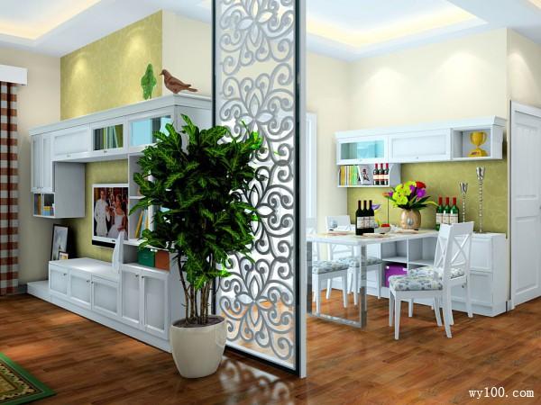 地中海式客餐厅效果图  46�O高颜值看脸时代_维意定制家具商城