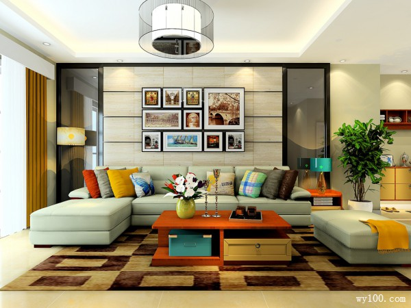 现代简约型客餐厅 26�O舒适温暖家_维意定制家具商城