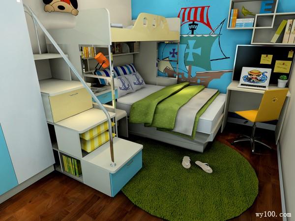 现代书柜儿童房装修效果图