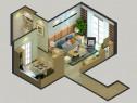 现代客餐厅效果图 25�O黄色柜身搭配白色面板_维意定制家具商城