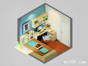 现代简约书房效果图 7�O赋予小空间勃勃生机_维意定制家具商城