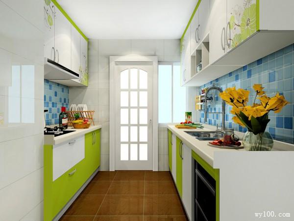 现代厨房效果图 5�O清新自然,如沐春光_维意定制家具商城