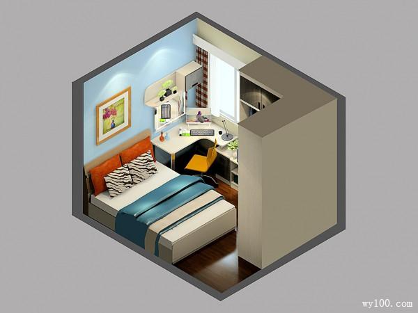 简约卧室效果图 9�O转角衣柜使空间加大_维意定制家具商城