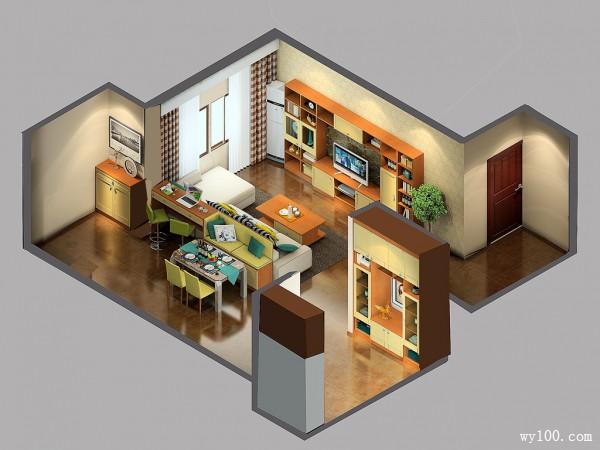香格里拉风格客餐厅设计效果图_维意定制家具商城