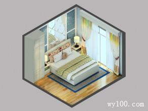 浅蓝色卧室效果图 12�O给人以温馨田园的感觉_维意定制家具商城