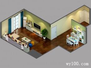 淡黄色客餐厅效果图 106�O犹如一米清晨的阳光_维意定制家具商城