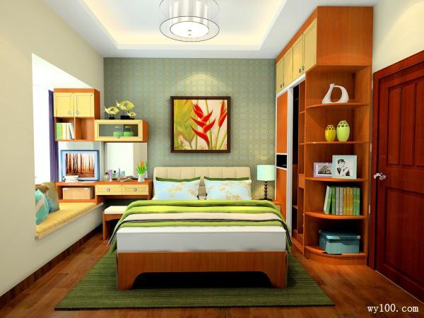 阳光卧室效果图 9�O整个空间突出阳光活力与热情_维意定制家具商城
