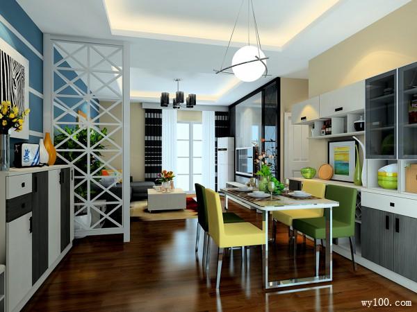 经典黑白风格客餐厅效果图_维意定制家具商城