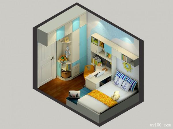 清爽型儿童房效果图 6�O蓝黄色凸显男孩房的特性_维意定制家具商城
