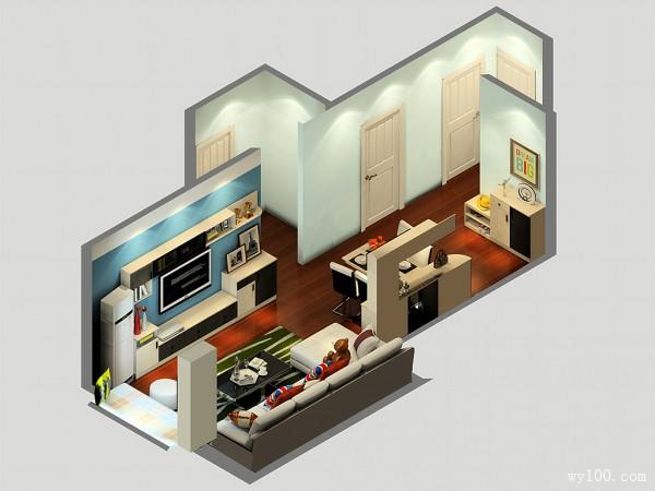 客餐厅一体效果图 25�O巧妙设计用餐区_维意定制家具商城