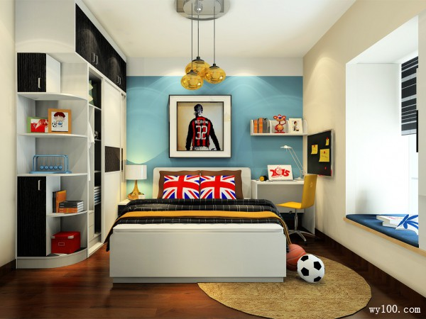 儿童房效果图 10�O色彩冲撞出时尚简约的感觉_维意定制家具商城