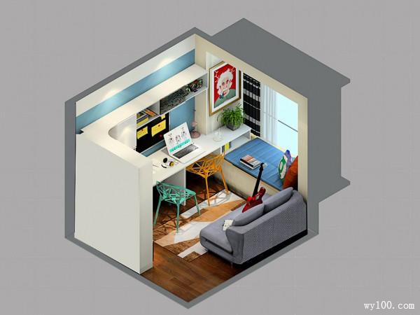 书桌榻榻米书房效果图 6�O学习休闲两不误_维意定制家具商城