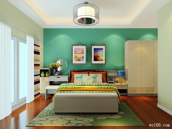 衣柜卧室装修效果图 15�O清新柠檬绿的色彩_维意定制家具商城