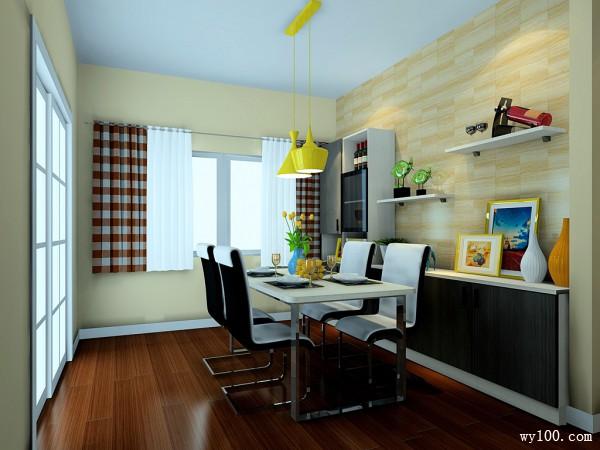 干净明亮客餐厅设计效果图_维意定制家具商城